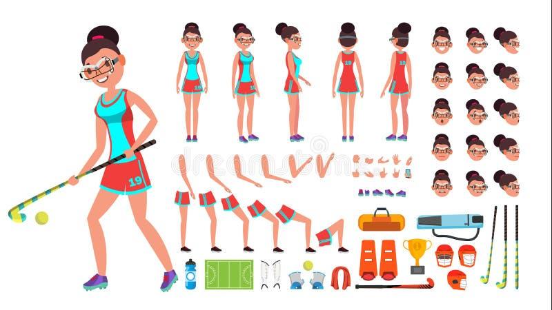 Śródpolny gracz w hokeja kobiety wektor animowany charakteru tworzenia set Pełna długość, przód, strona, Tylny widok, akcesoria royalty ilustracja