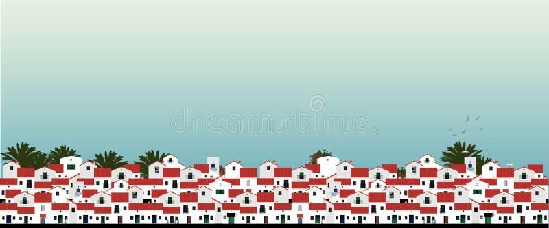 Śródziemnomorscy Hiszpańscy domy, palmy, ptaki i niebieskiego nieba bakground, ilustracja wektor