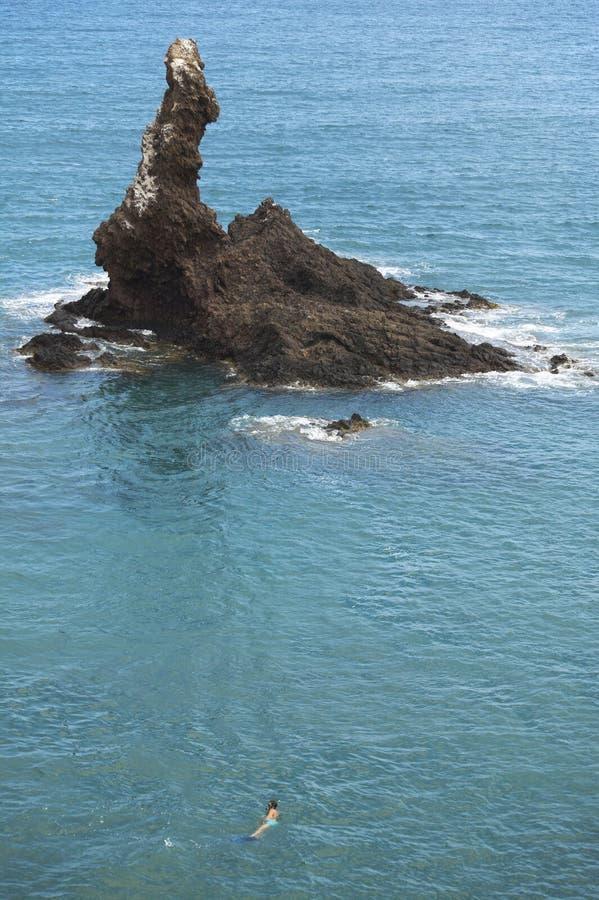 Śródziemnomorska linia brzegowa z skalistą wyspą w Almeria Hiszpania zdjęcie royalty free