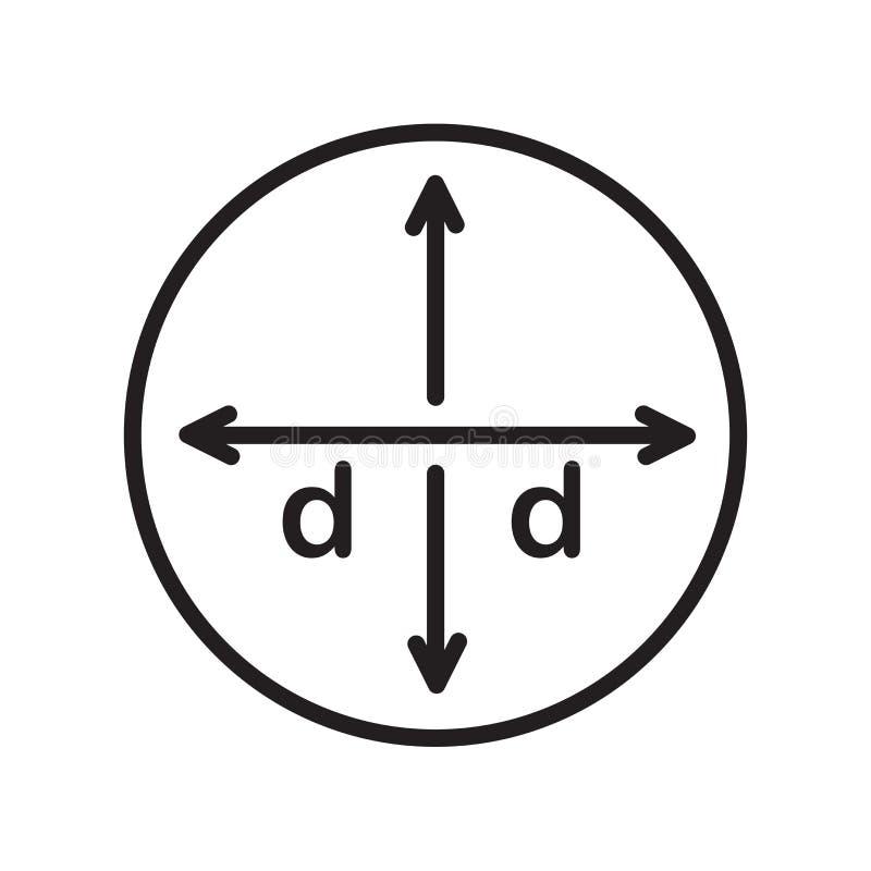 Średnicy ikony wektoru znak i symbol odizolowywający na białym backgroun ilustracja wektor
