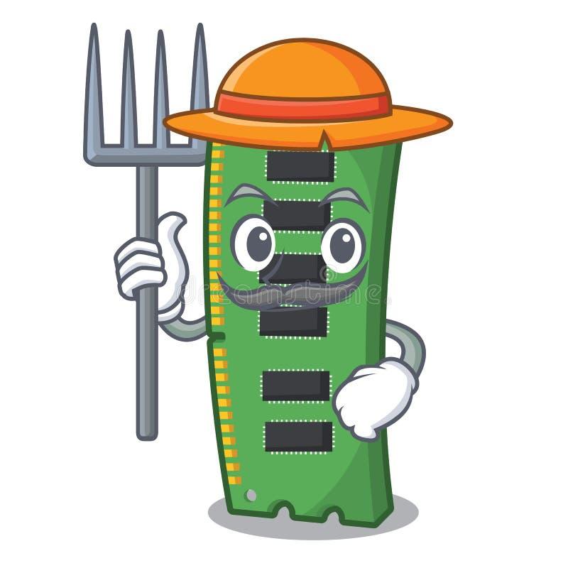 Średniorolna RAM karta pamięci odizolowywająca w kreskówce ilustracji