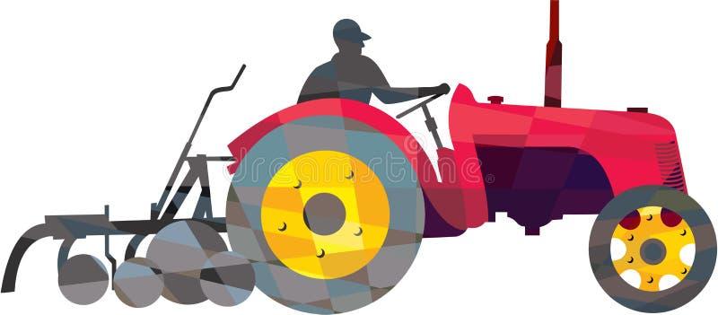 Średniorolny Napędowy rocznika Rolnego ciągnika depresji wielobok ilustracji
