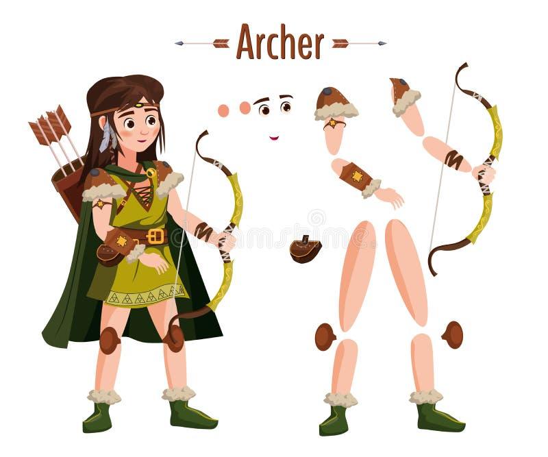 Średniowieczna łuczniczki kobieta w opancerzeniu, z łękiem w ręce, peleryna, atrybuty Dla animacji w grach, zastosowania wektor ilustracja wektor