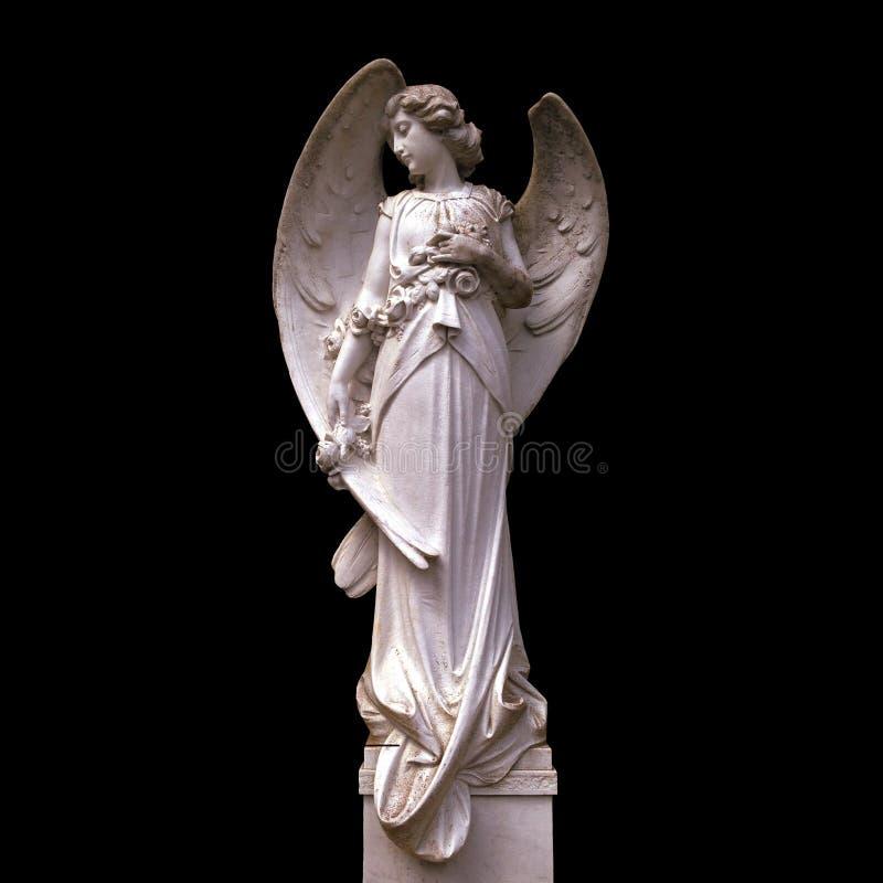 Średniowieczna anioł statua odizolowywająca na czarnym tle fotografia stock