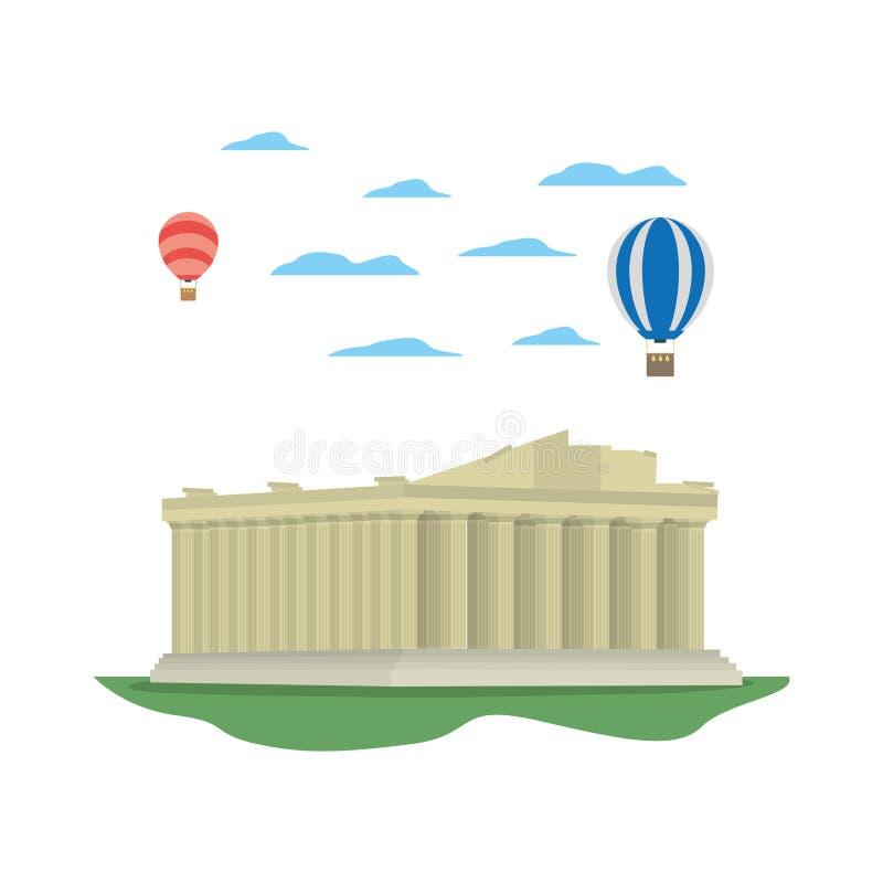 Średniowieczna Athens architektura i lotniczy balony ilustracja wektor