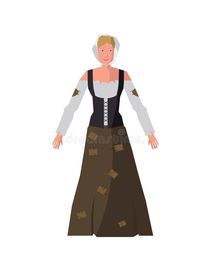 Średniowieczna Biedna kobieta ilustracja wektor