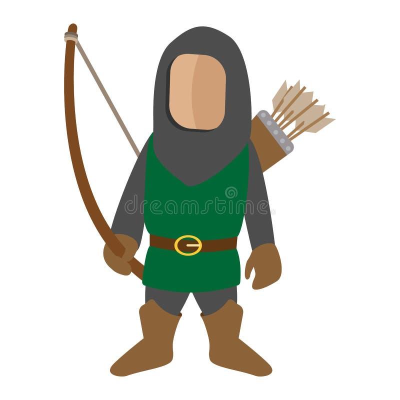 Średniowieczna charakter łuczniczki kreskówki ikona ilustracja wektor