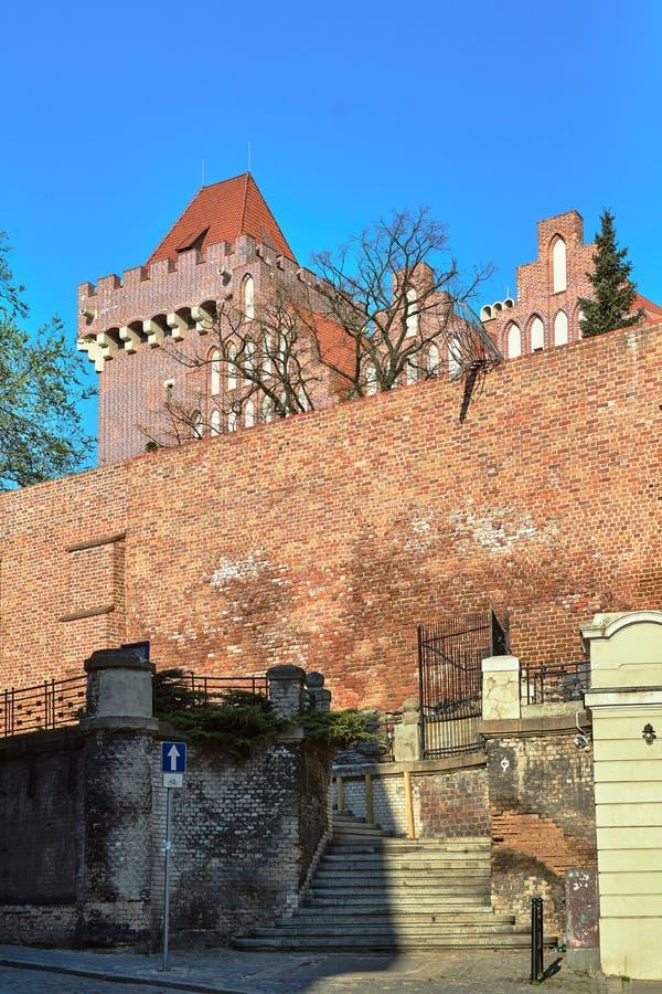 Średniowieczna defensywy ściana i góruje królewski kasztel zdjęcie stock