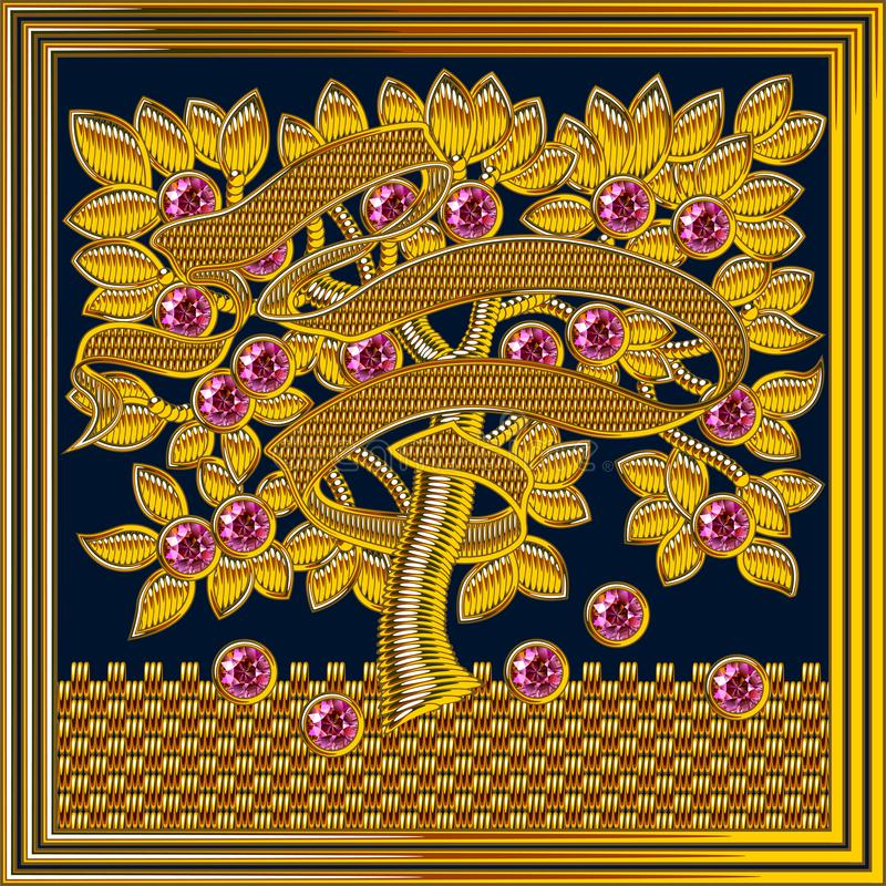 Średniowieczna Goldwork wektoru Hafciarska rama Rubinu kamień ilustracji