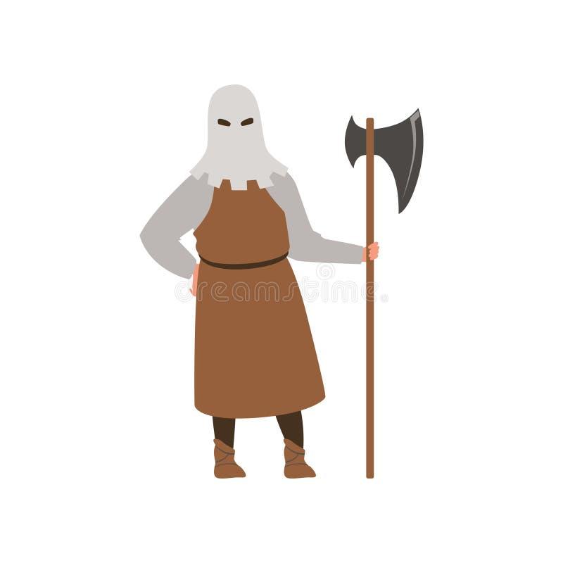 Średniowieczna kata charakteru pozycja z ax wektorową ilustracją na białym tle ilustracji