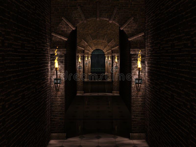 Średniowieczna korytarza i żelaza kasztelu brama royalty ilustracja