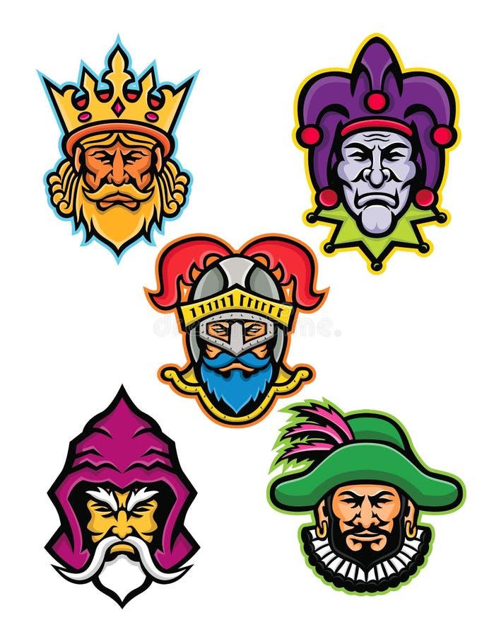 Średniowieczna Królewska Dworska maskotki kolekcja ilustracja wektor