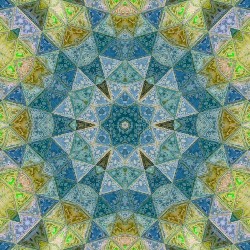 Średniowieczna mozaiki gwiazda, kwiat w lub złota, zieleni i błękita cyraneczce, wykonujemy szkło obraz royalty free