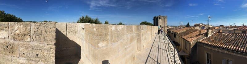 Średniowieczna ramparts panorama, Aigues Mortes obraz stock