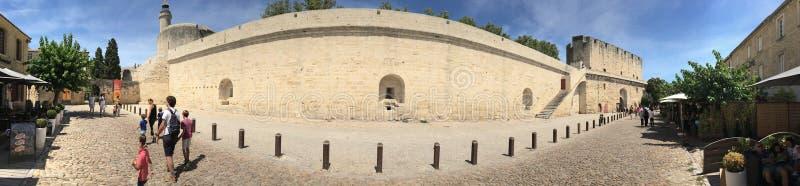 Średniowieczna ramparts panorama, Aigues Mortes zdjęcia royalty free