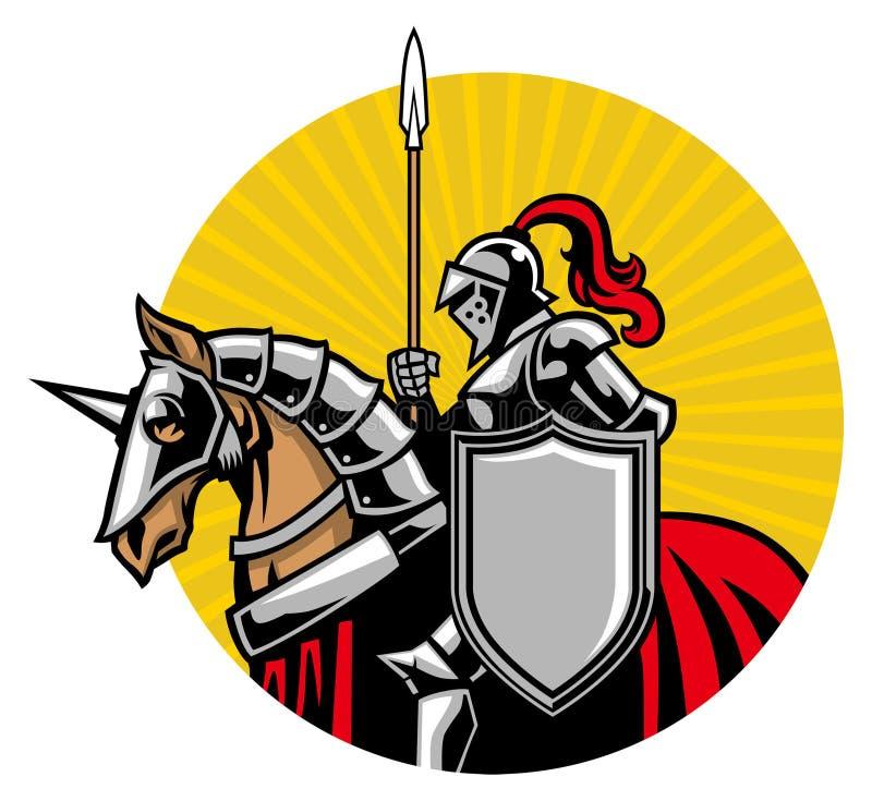 Średniowieczna rycerz przejażdżka koń ilustracja wektor