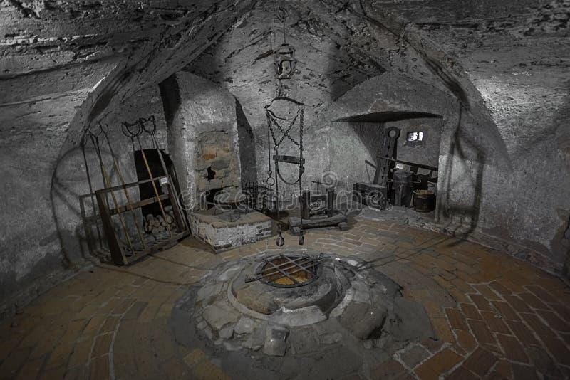 Średniowieczna sala tortur w HradÄ  jakaś teren obrazy royalty free