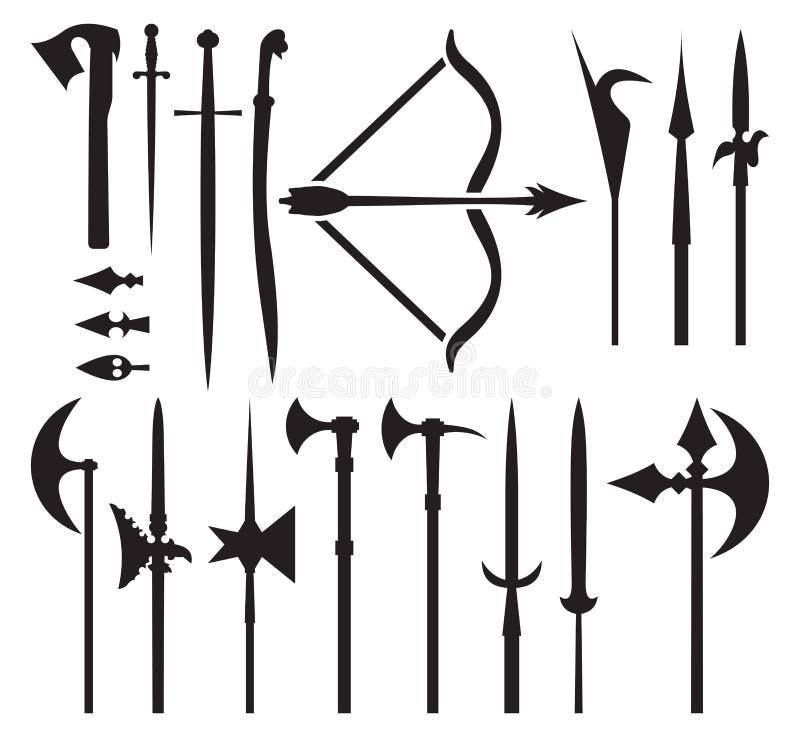 Średniowieczne broni ikony ilustracji