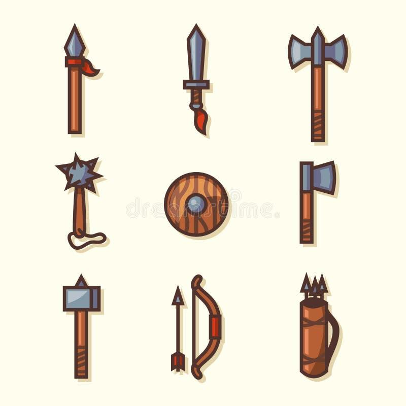 Średniowieczne broni ikony royalty ilustracja