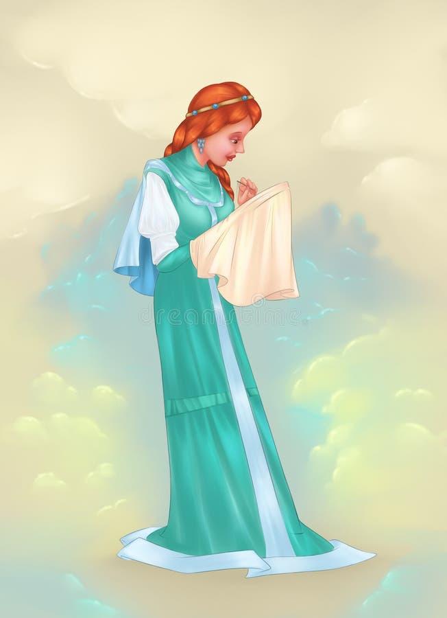 Średniowieczne dama sen broderie ilustracji