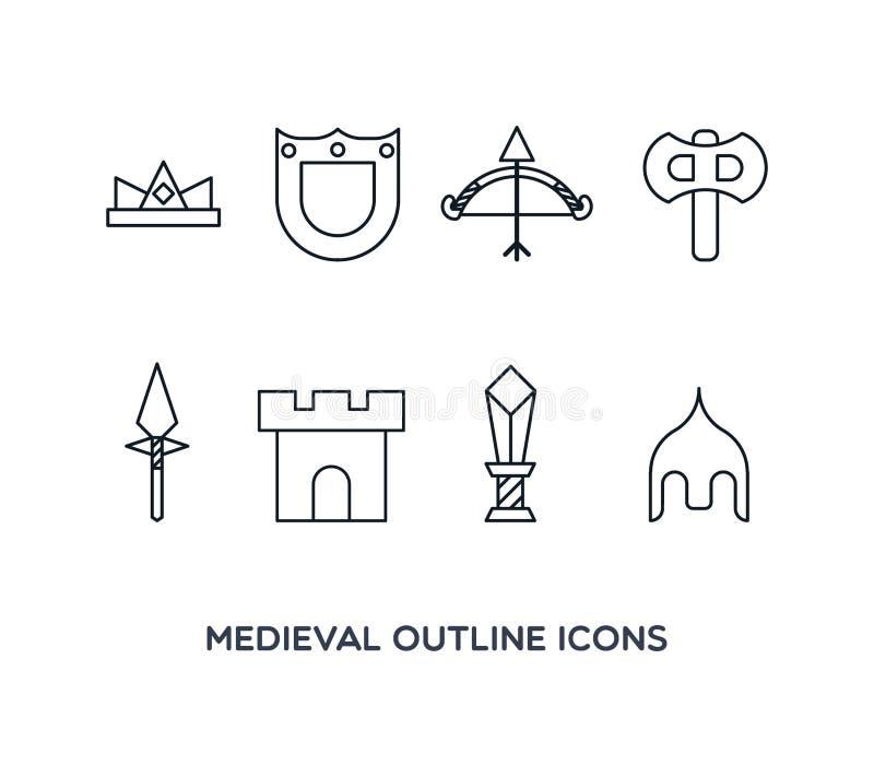 Średniowieczne kontur ikony zdjęcie stock