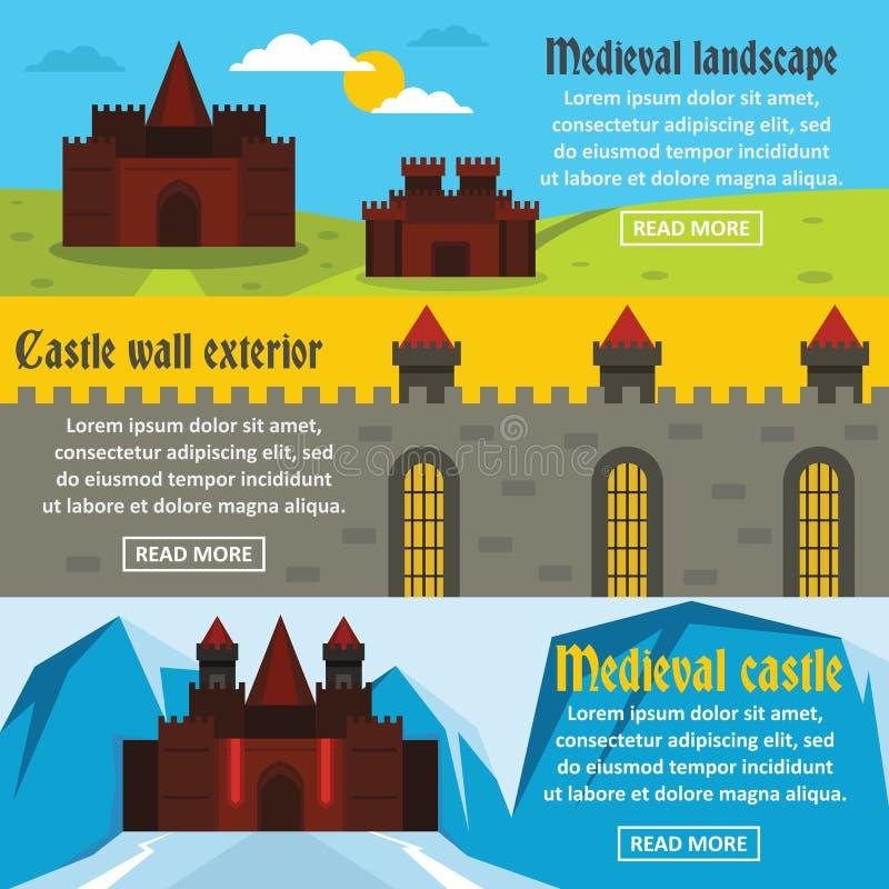Średniowiecznego grodowego sztandaru horyzontalny set, mieszkanie styl royalty ilustracja