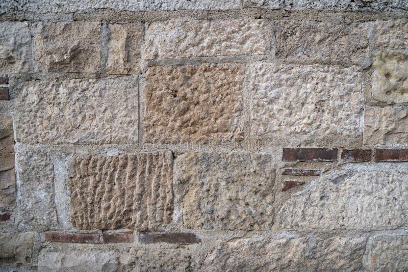 Średniowiecznego kasztelu kamiennej ściany textured tło fotografia stock