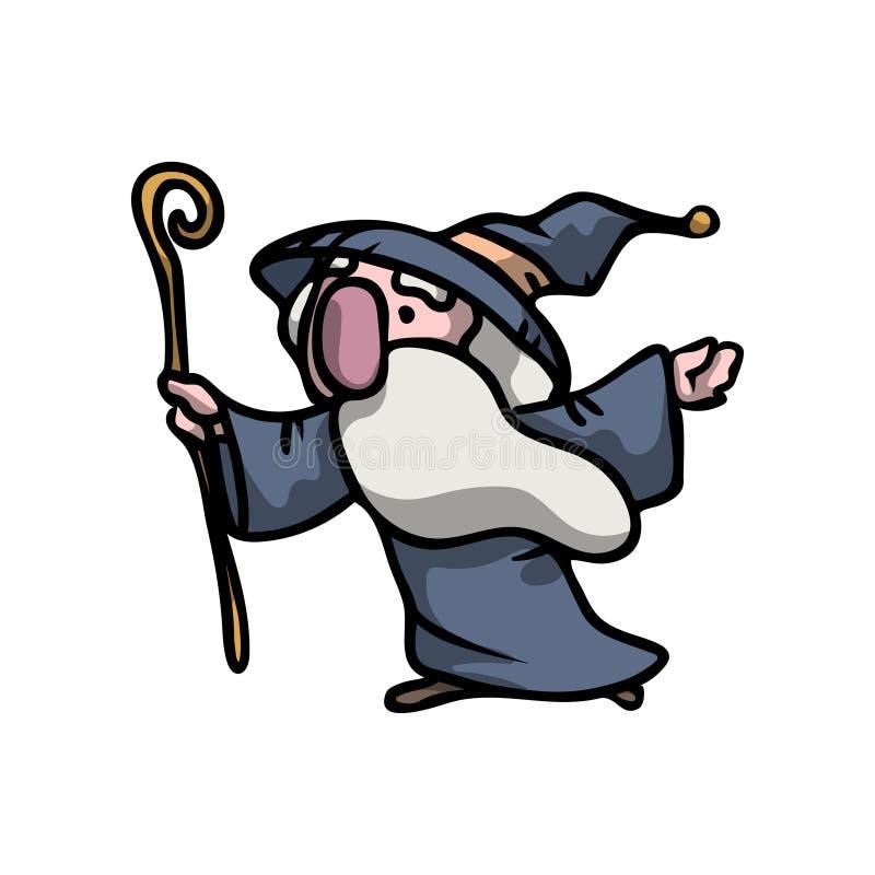 Średniowiecznego magika starszy mężczyzna z błękitną brodą i kapeluszem royalty ilustracja