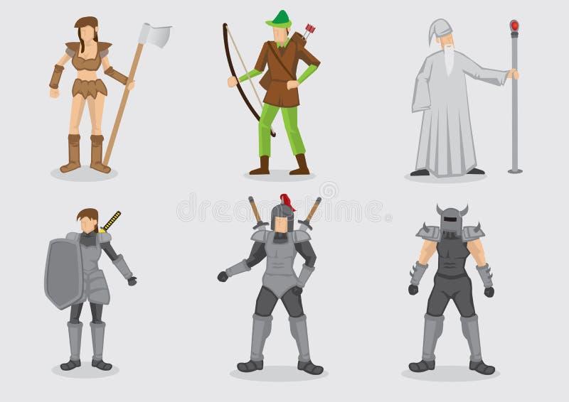 Średniowiecznej fantazi charakteru projekta Gemowy Wektorowy charakter - set ilustracji