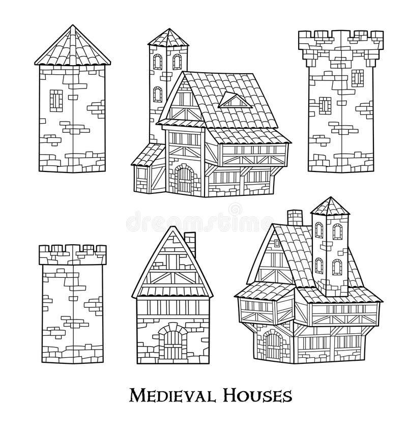 Średniowieczni antyczni budynki ustawiający różni rodzaje tradycyjni domy odizolowywali wektorową ilustrację ilustracji