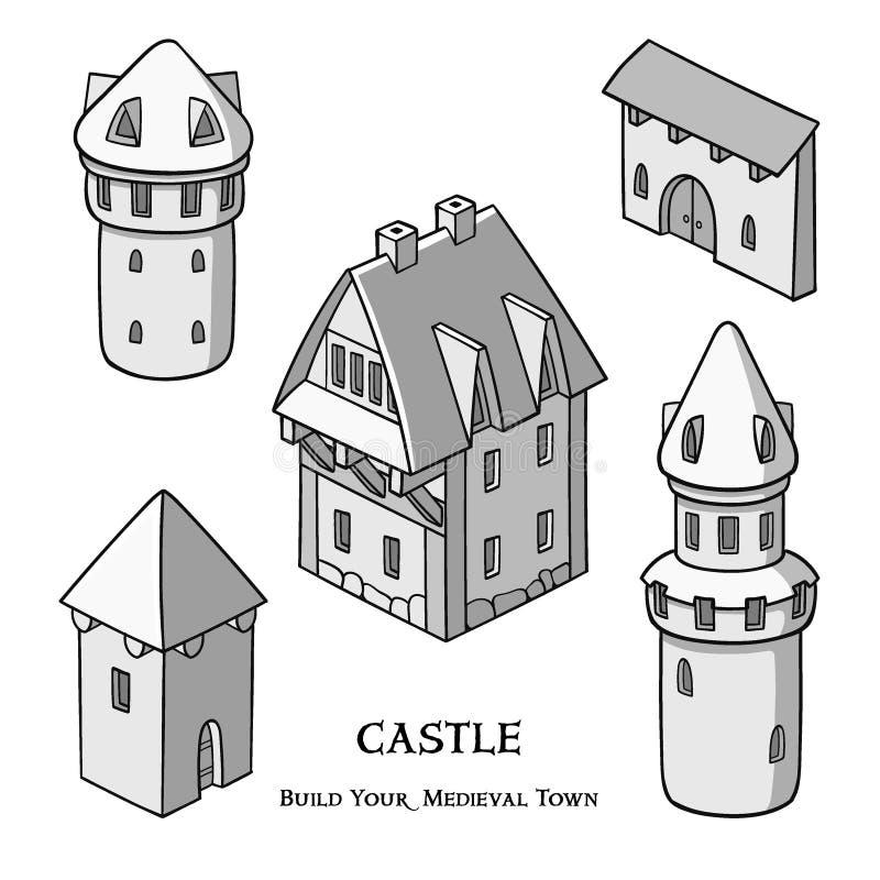 Średniowieczni antyczni budynki ustawiający różni rodzaje tradycyjni domy odizolowywali wektorową ilustrację ilustracja wektor