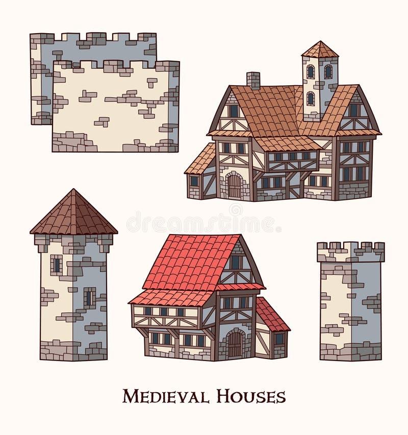 Średniowieczni antyczni budynki ustawiający różni rodzaje tradycyjni domy odizolowywali wektorową ilustrację royalty ilustracja