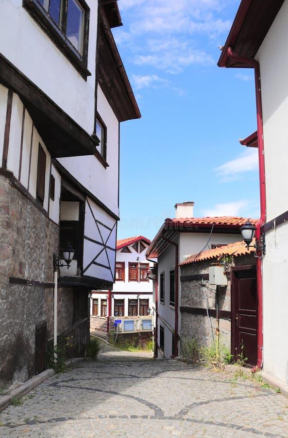 Średniowieczni domy w starym grodzkim Kaleici, Ankara, Turcja obrazy stock