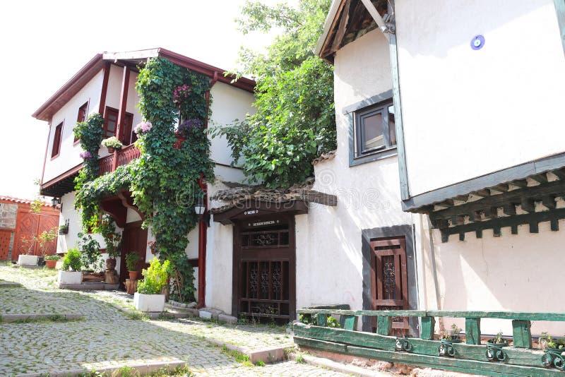 Średniowieczni domy w starym grodzkim Kaleici, Ankara, Turcja obraz royalty free