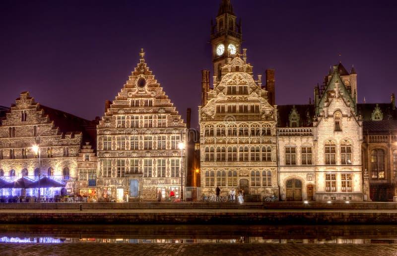 Średniowieczni handlarzów domy w Ghent, Belgia obrazy stock