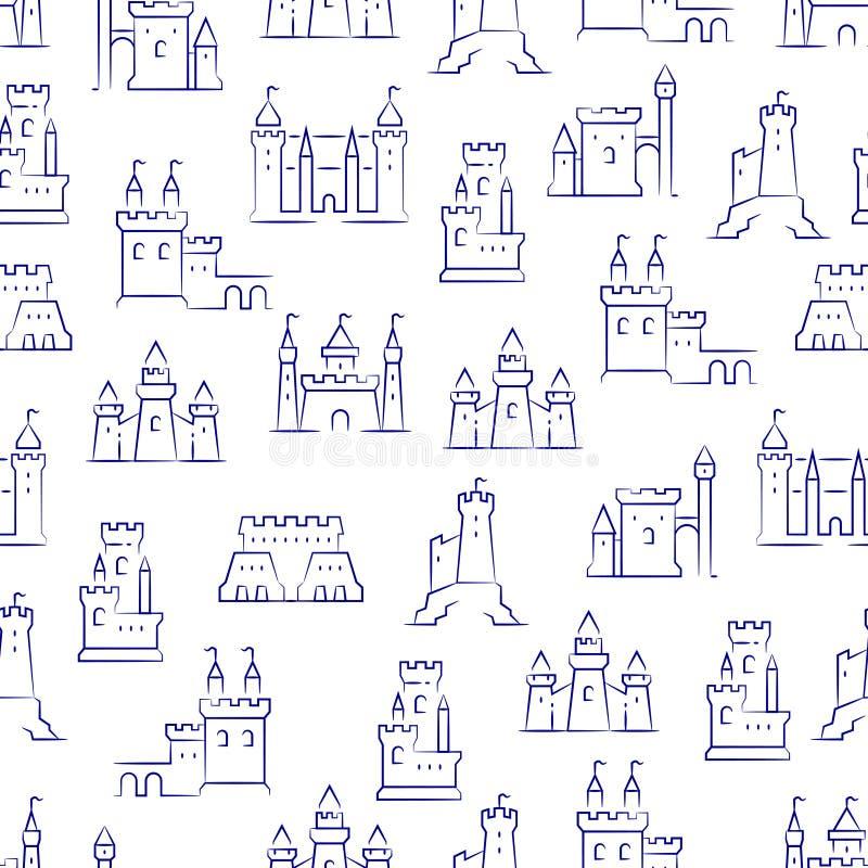 Średniowieczni kasztele, forteca, bastionu bezszwowy wzór royalty ilustracja