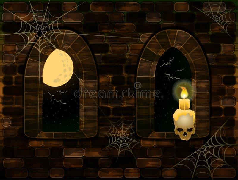 Średniowieczni okno w magii roszują z czaszką i świeczką Szczęśliwa Halloween karta, wektor ilustracji