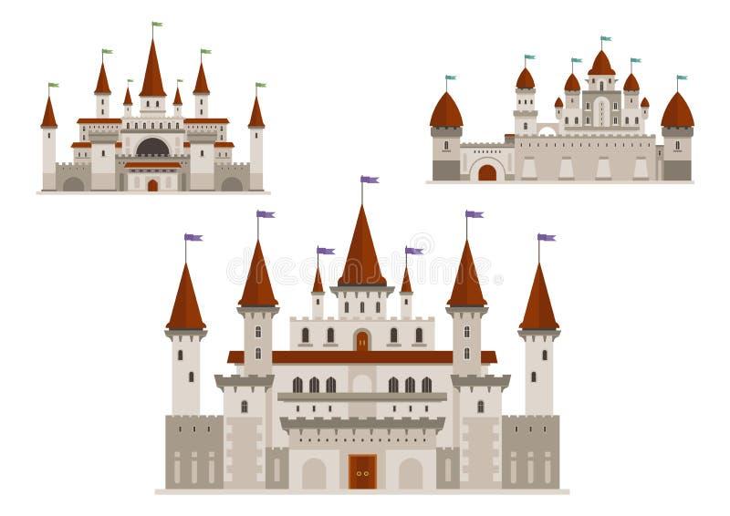 Średniowieczni pałac lub kasztele z górują i iglicy ilustracja wektor