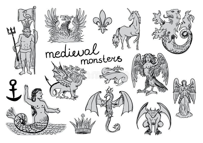 Średniowieczni potwory ilustracji