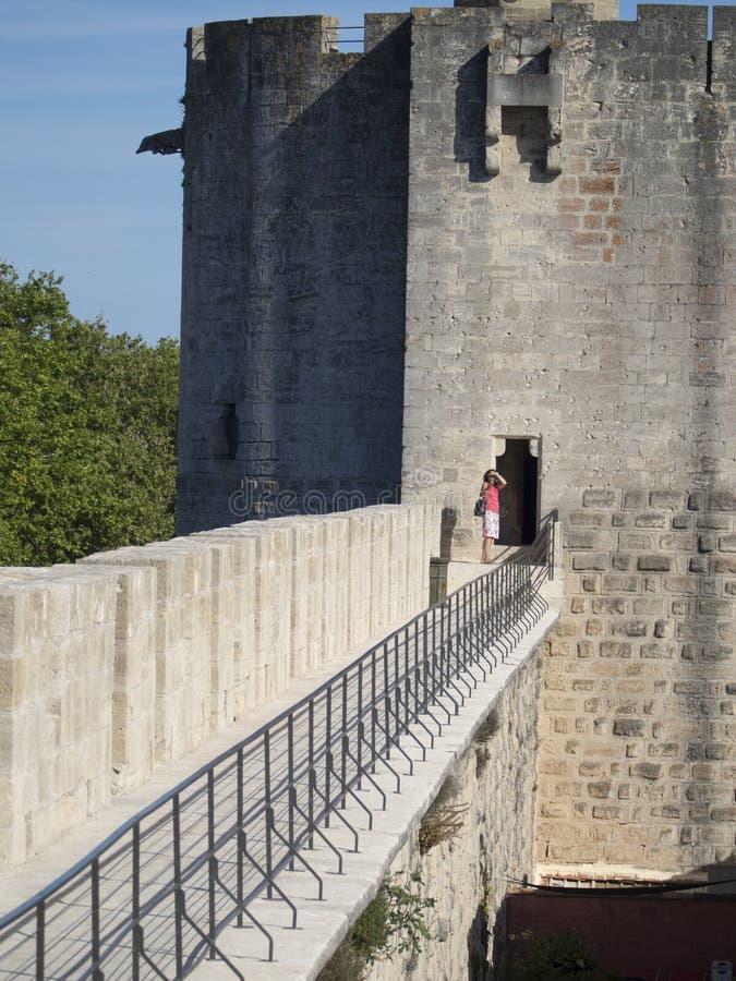 Średniowieczni ramparts, Aigues Mortes zdjęcia stock
