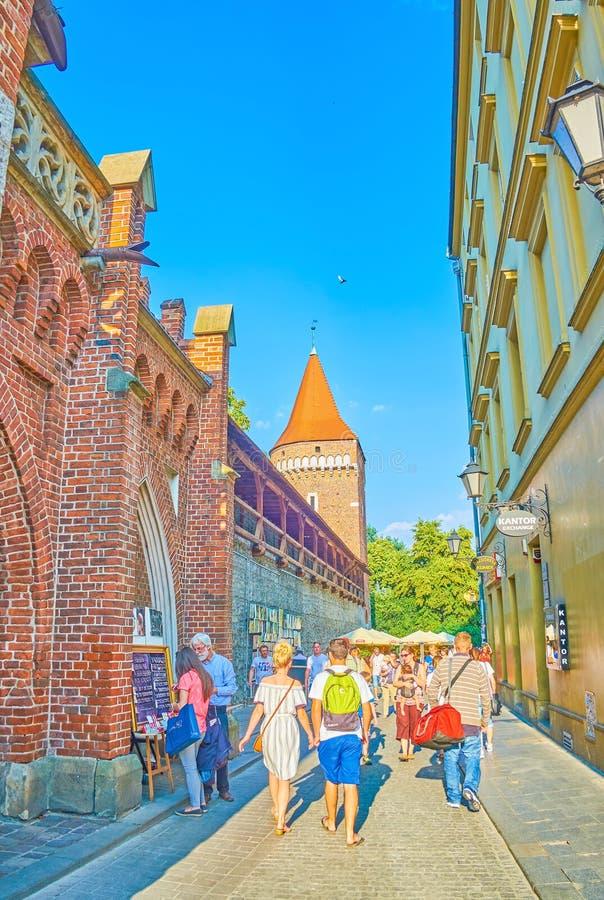 Średniowieczni ramparts Krakow, Polska obraz royalty free