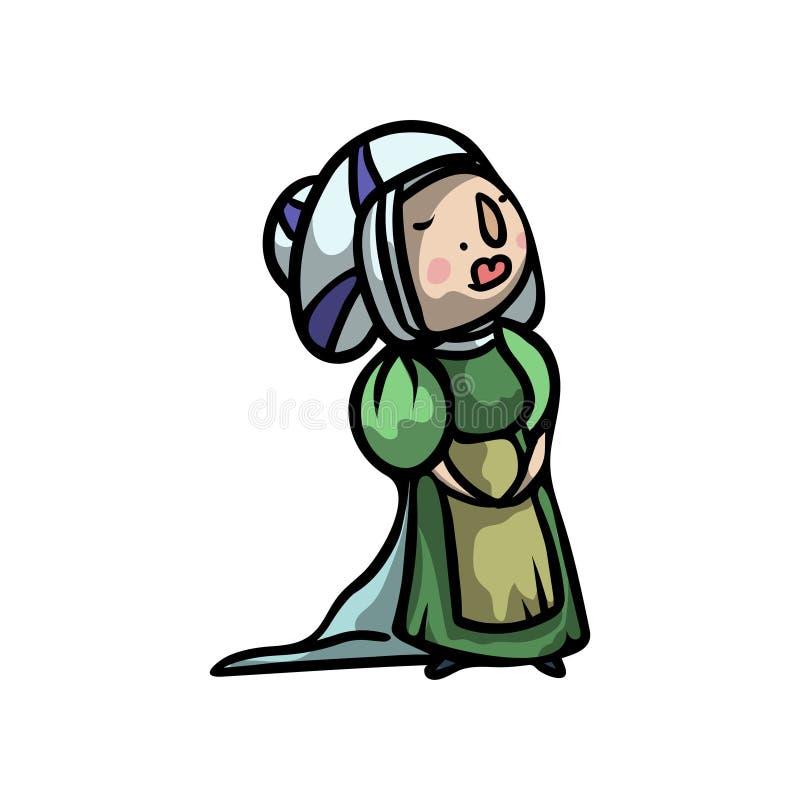 Średniowieczny śliczny i piękny princess w długiej zieleni sukni royalty ilustracja