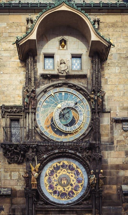 Średniowieczny astrologiczny zegar w Praga, republika czech zdjęcie stock