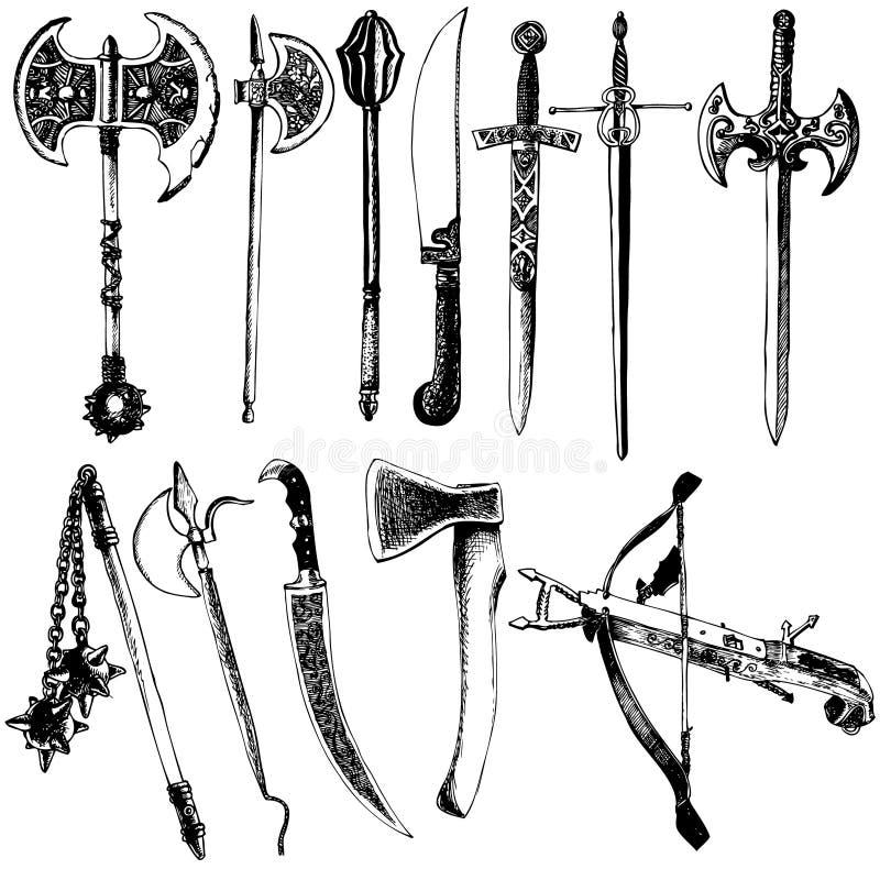 Średniowieczny broń wektoru set zdjęcie stock