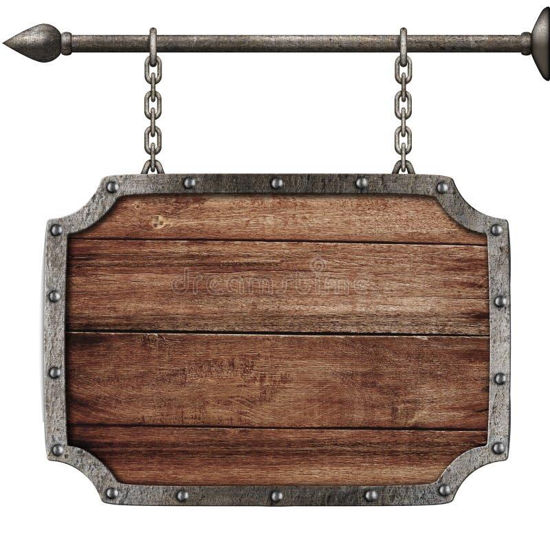 Średniowieczny drewno znaka obwieszenie na łańcuchach odizolowywających obraz royalty free