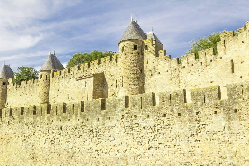 Średniowieczny forteca Carcassonne obrazy royalty free