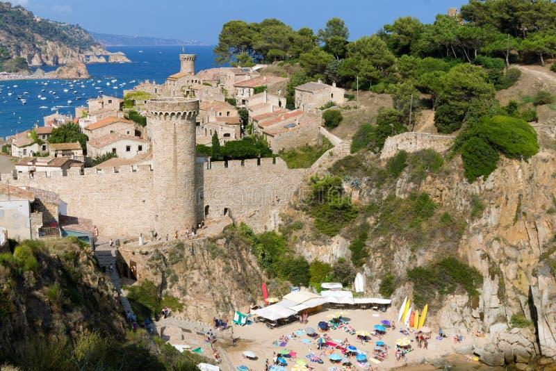 Średniowieczny forteca miasto Tossa De Mar w prowincji Catalonia, Hiszpania fotografia royalty free