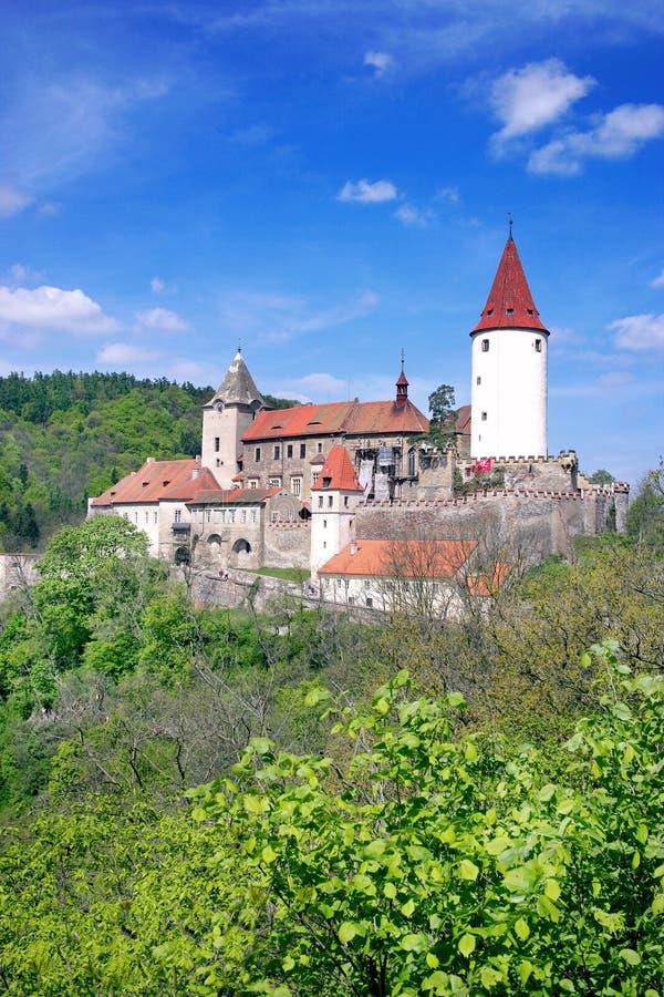 Średniowieczny gothic królewski kasztel z ramparts Krivoklat blisko Rakovn fotografia stock