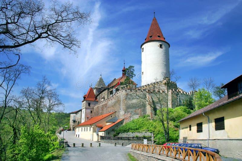 Średniowieczny gothic królewski kasztel z ramparts Krivoklat blisko Rakovn zdjęcia stock