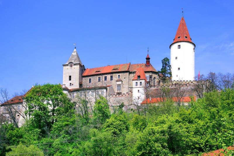 Średniowieczny gothic królewski kasztel z ramparts Krivoklat blisko Rakovn zdjęcie stock